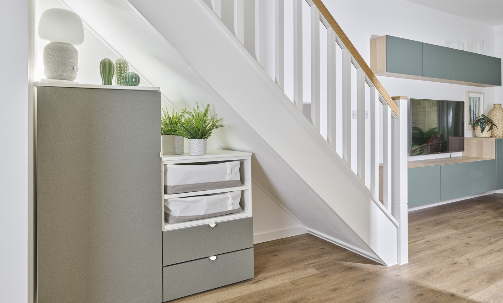 Furnishing interior propposal for staircase at 1st BloKlok UK project