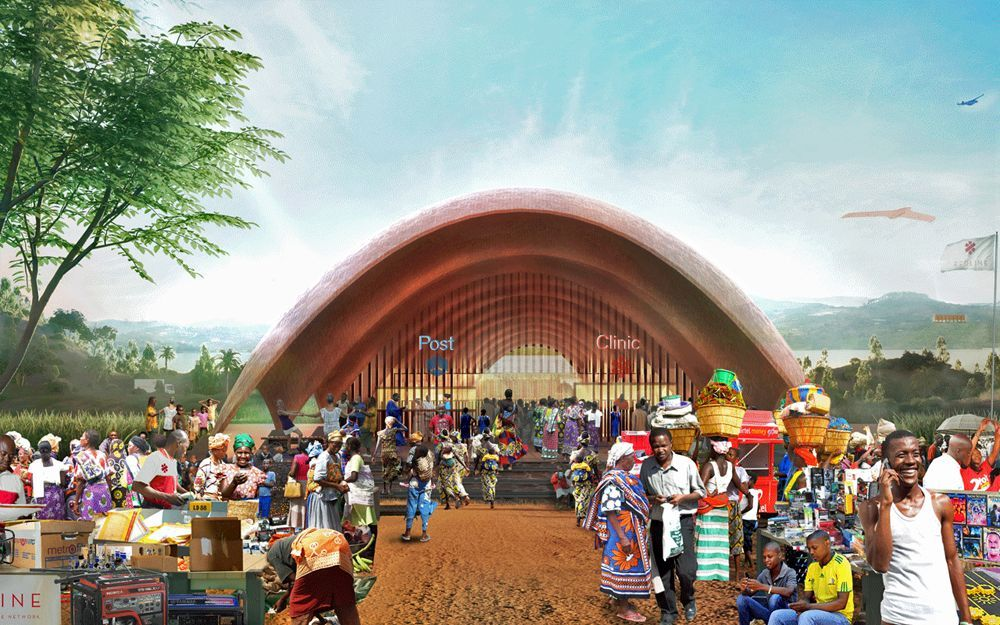 Droneport pilot project for Rwanda by Foster + Partners. © Foster + Partners.