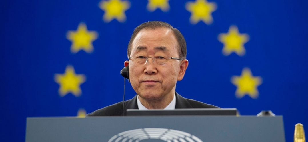 Secretary-General Ban Ki-moon attends Plenary Session with European Parliament regarding the vote on the ratification of the Paris Agreement