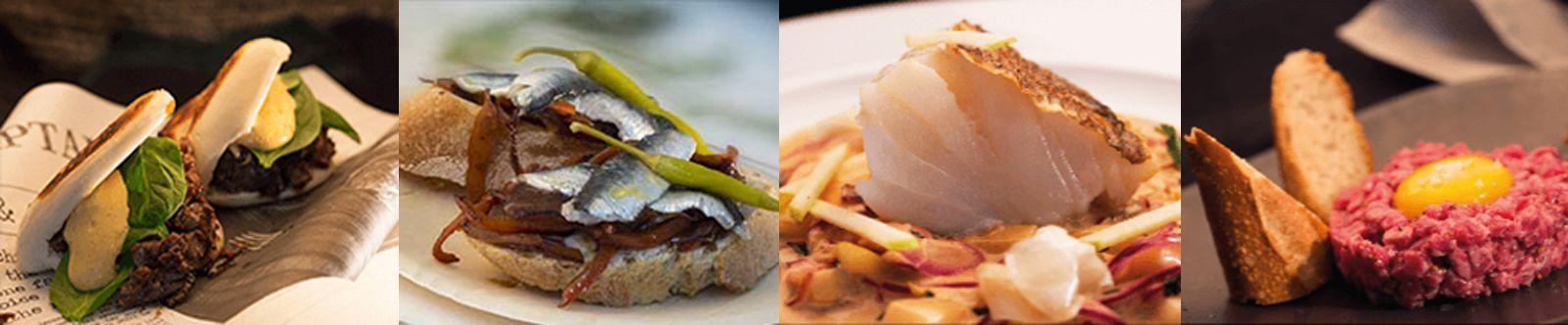 Platos en la oferta de los distintos espacios culinarios de Florida Retiro. De izquierda a derecha: Kioscos, La galería, El pabellón y La Sala. © Florida Retiro.