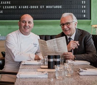 Bruno Brangea (head chef at Champeaux) -left- and Alain Ducasse -right- at Champeaux. Photo © Champeaux.
