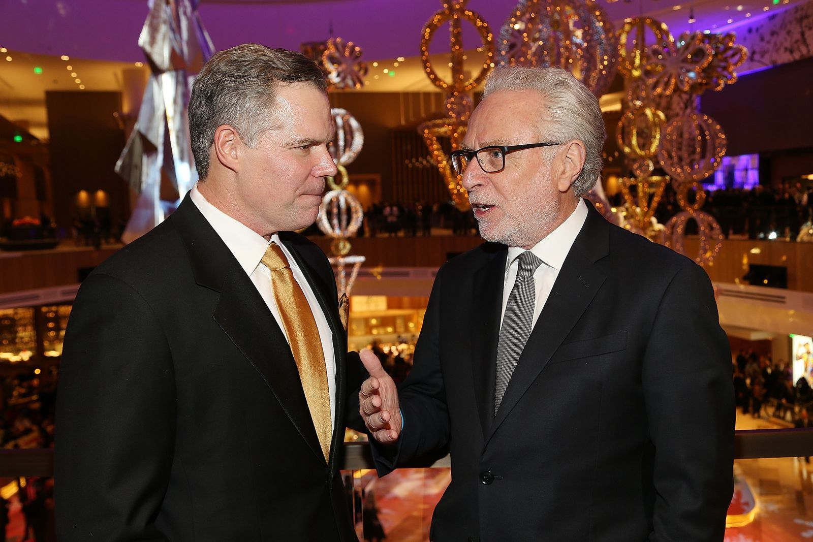NATIONAL HARBOR, MD - DECEMBER 08:  MGM Resorts International Chairman and CEO Jim Murren (L) and Wolf Blitzer attend the MGM National Harbor Grand Opening Gala on December 8, 2016 in National Harbor, Maryland.  (Photo by Paul Morigi/Getty Images for MGM National Harbor)