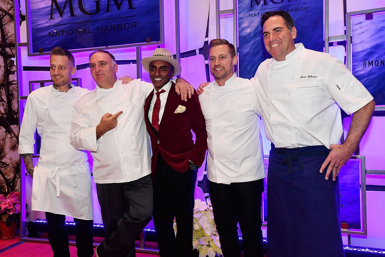 NATIONAL HARBOR, MD - DECEMBER 08:  (L-R) Michael Voltaggio, Jose Andres, Marcus Samuelsson, Bryan Voltaggio, and Jason Johnston attend the MGM National Harbor Grand Opening Gala on December 8, 2016 in National Harbor, Maryland.  (Photo by Larry French/Getty Images for MGM National Harbor)