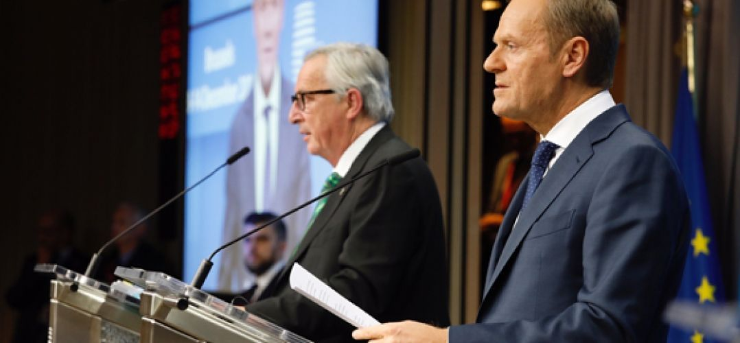 Donald Tusk, President of the EU Council (right) and Jean-Claude Juncker, President of the EU Commission (left) at the press confernece held just after the EU Council meeting held on 13th December 2018. © European Union